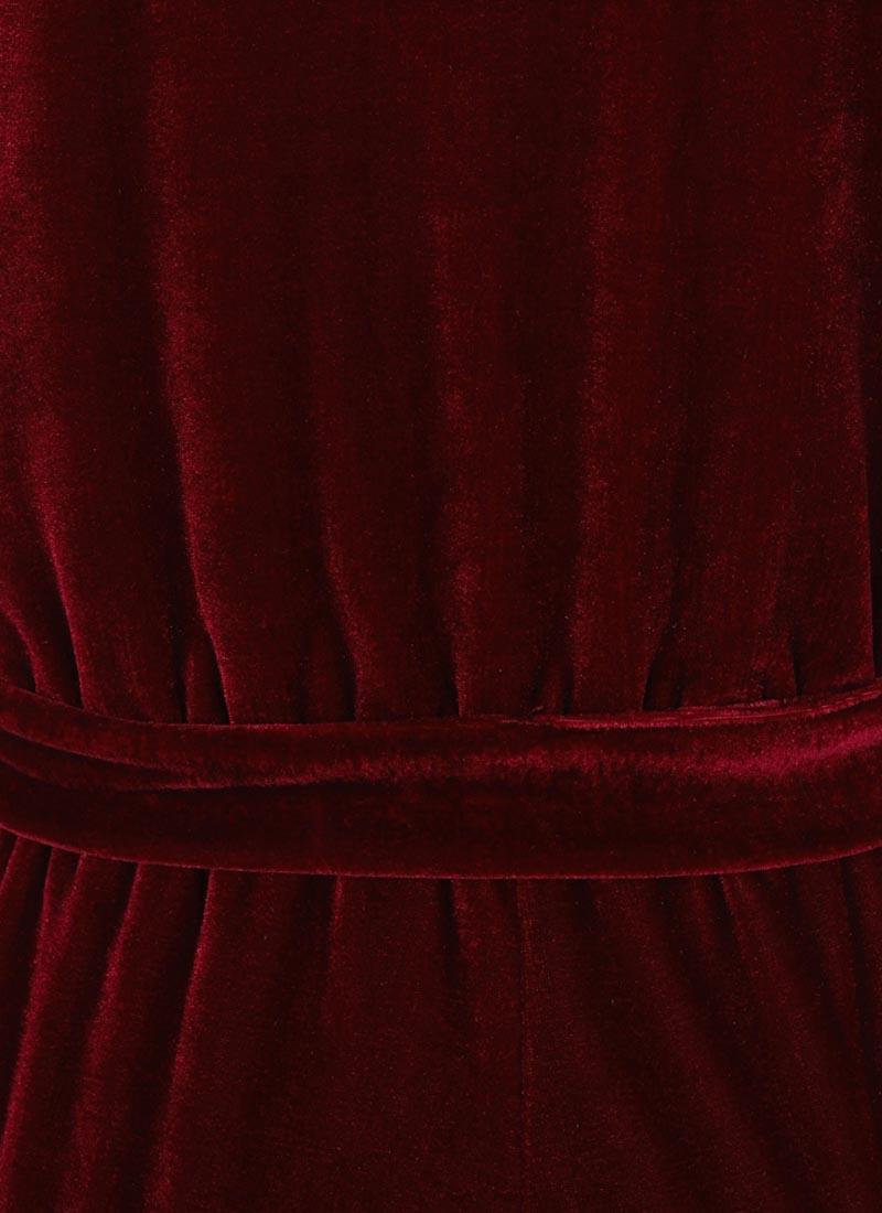 Gennaro Wrap Front Velvet Jumpsuit - Cabernet