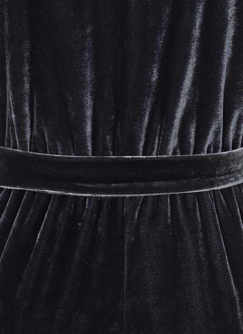 Gennaro Wrap Front Velvet Jumpsuit - Blue