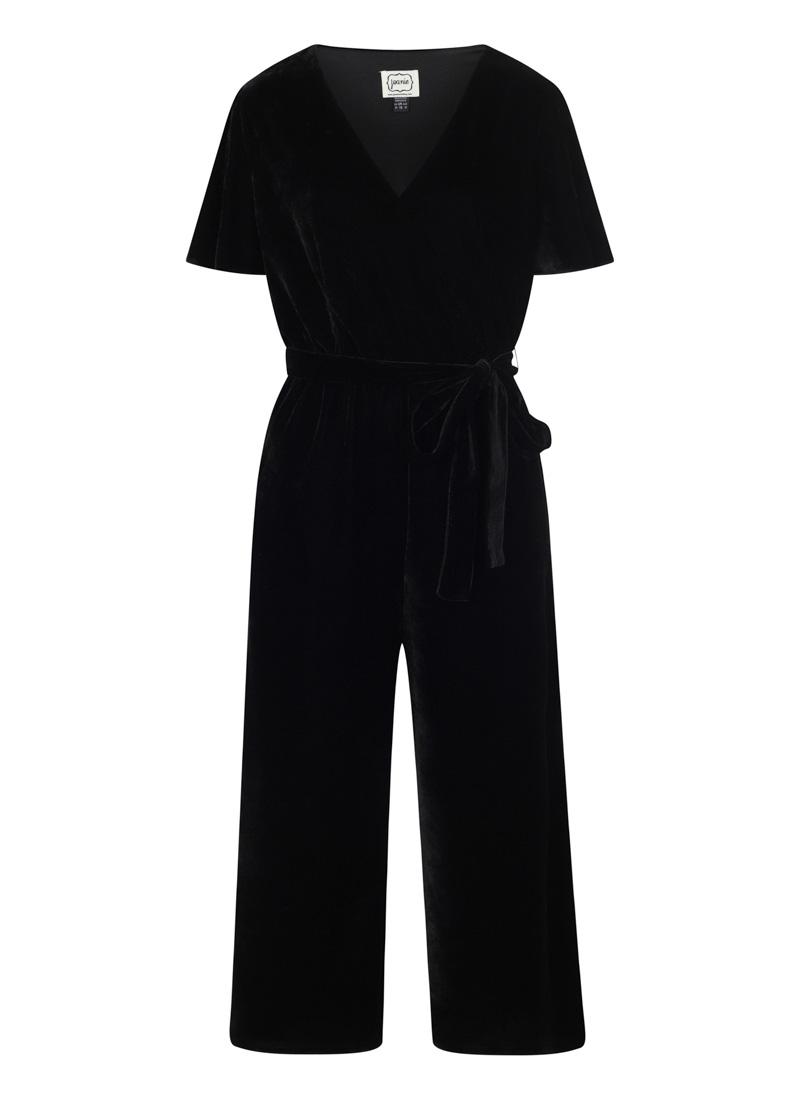 Gennaro Black Wrap Front Velvet Jumpsuit Product Front