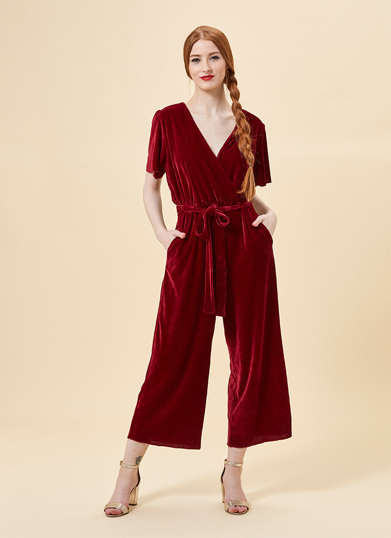 Gennaro Red Burgundy Velvet Jumpsuit