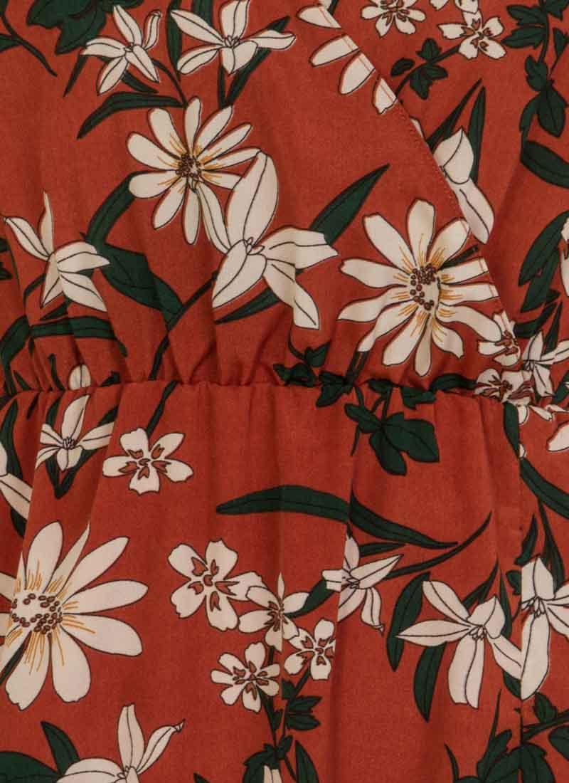 Katrine Floral Wrap Front Midi Dress - Rust
