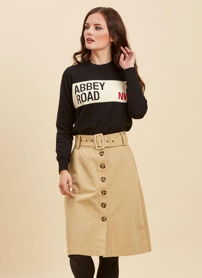 Gladys Beige Belted Button-Through Skirt Close-Up