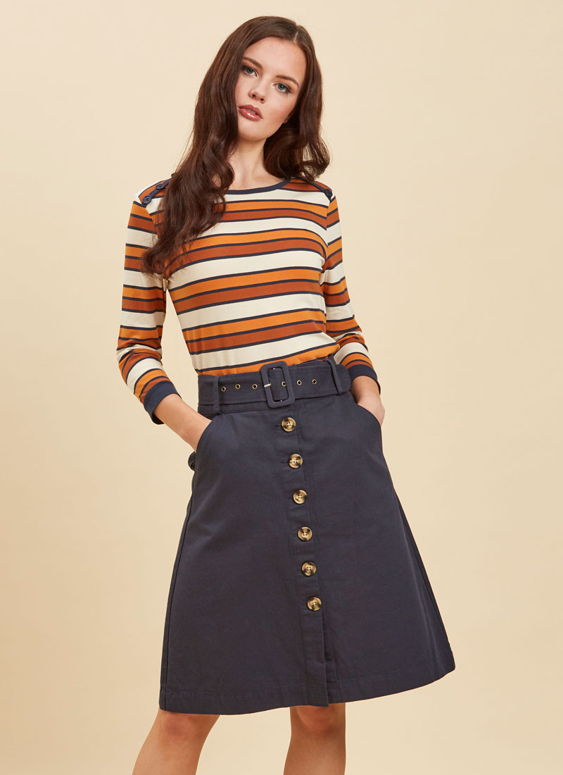 Gladys Belted Button Skirt Navy Close-Up