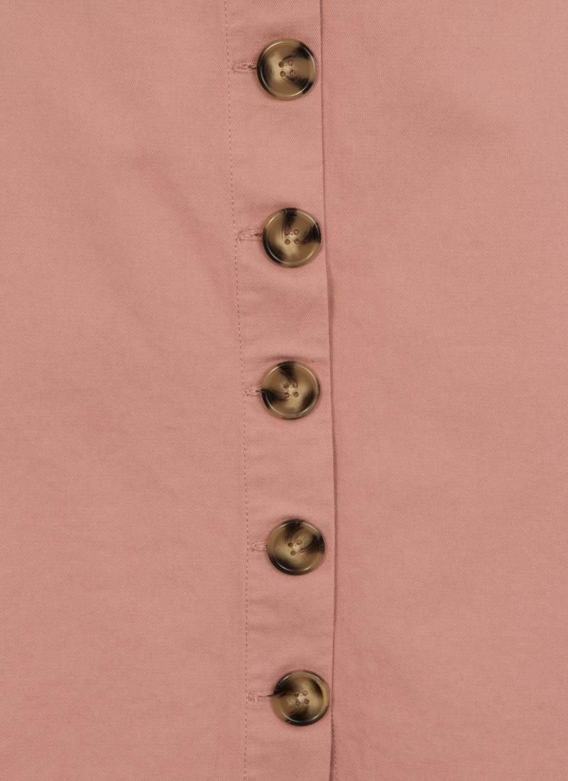 Gladys Belted Button Skirt - Pink