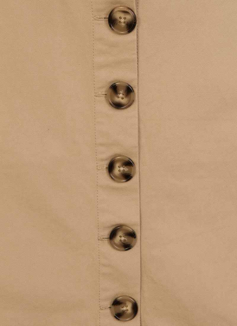 Gladys Belted Button Skirt - Beige