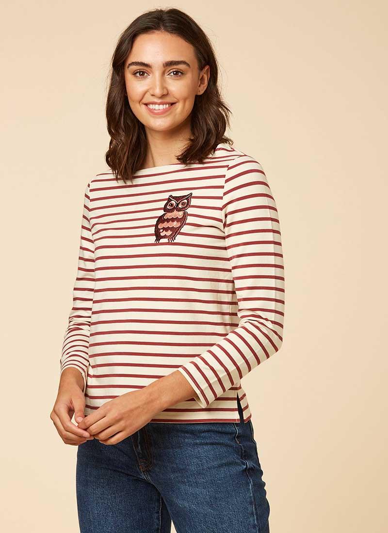 Granger Owl Burgundy Breton Stripe Top Model Front