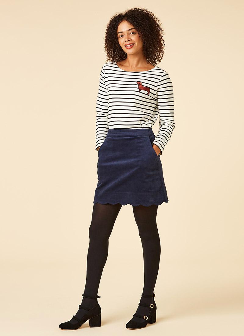 Villanelle Navy Velveteen Scallop Mini Skirt Model Front