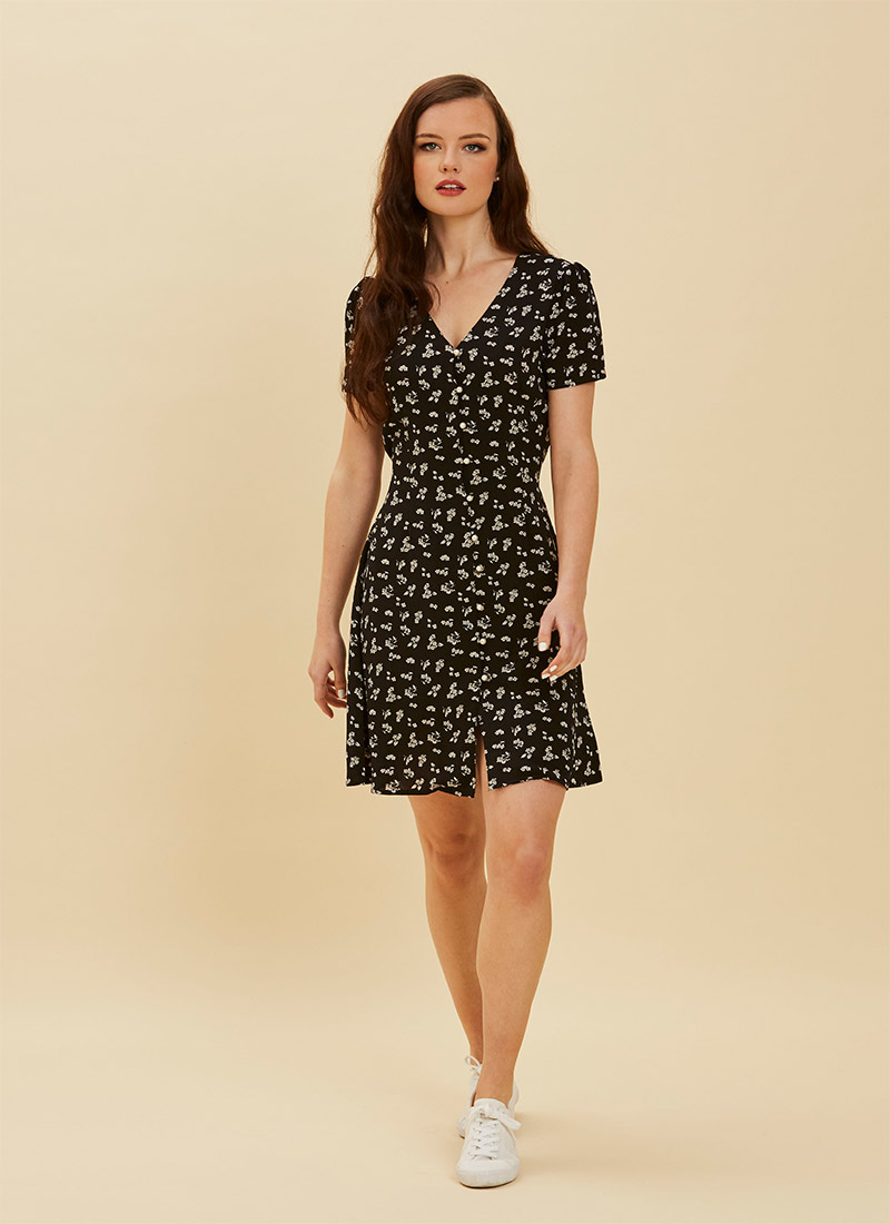 Gwen Black Floral Pearl Button Through Tea Dress  Full Front View