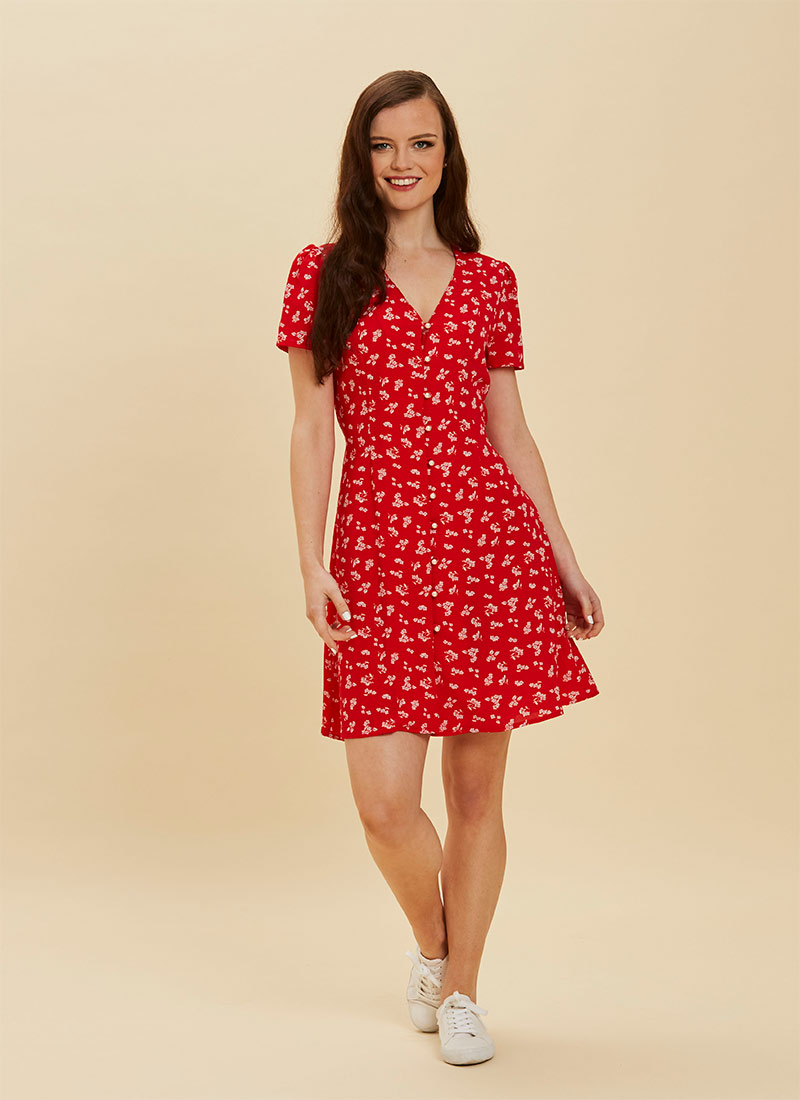 Gwen Red Floral Pearl Button Through Tea Dress full front view
