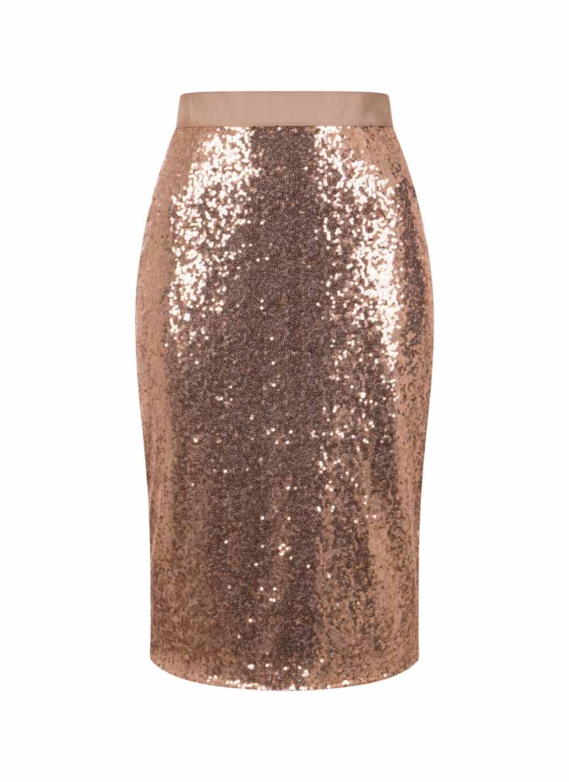 Hannah Rose Gold Sequin Skirt Product Front