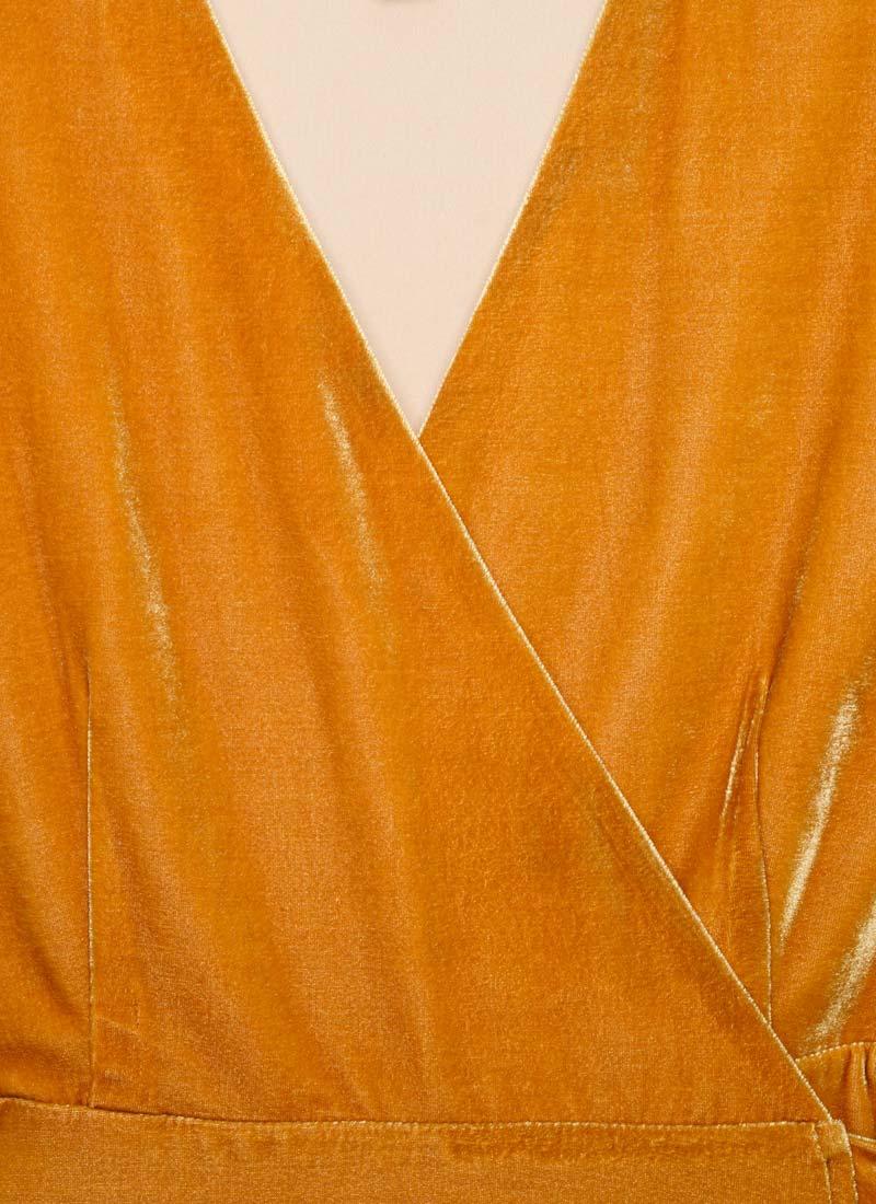 Harley Velvet Wrap Midi Dress - Gold