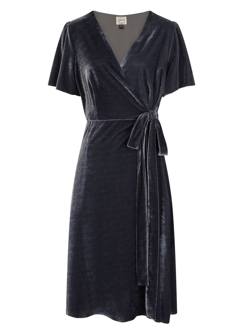 Harley Velvet Wrap Dress - Blue