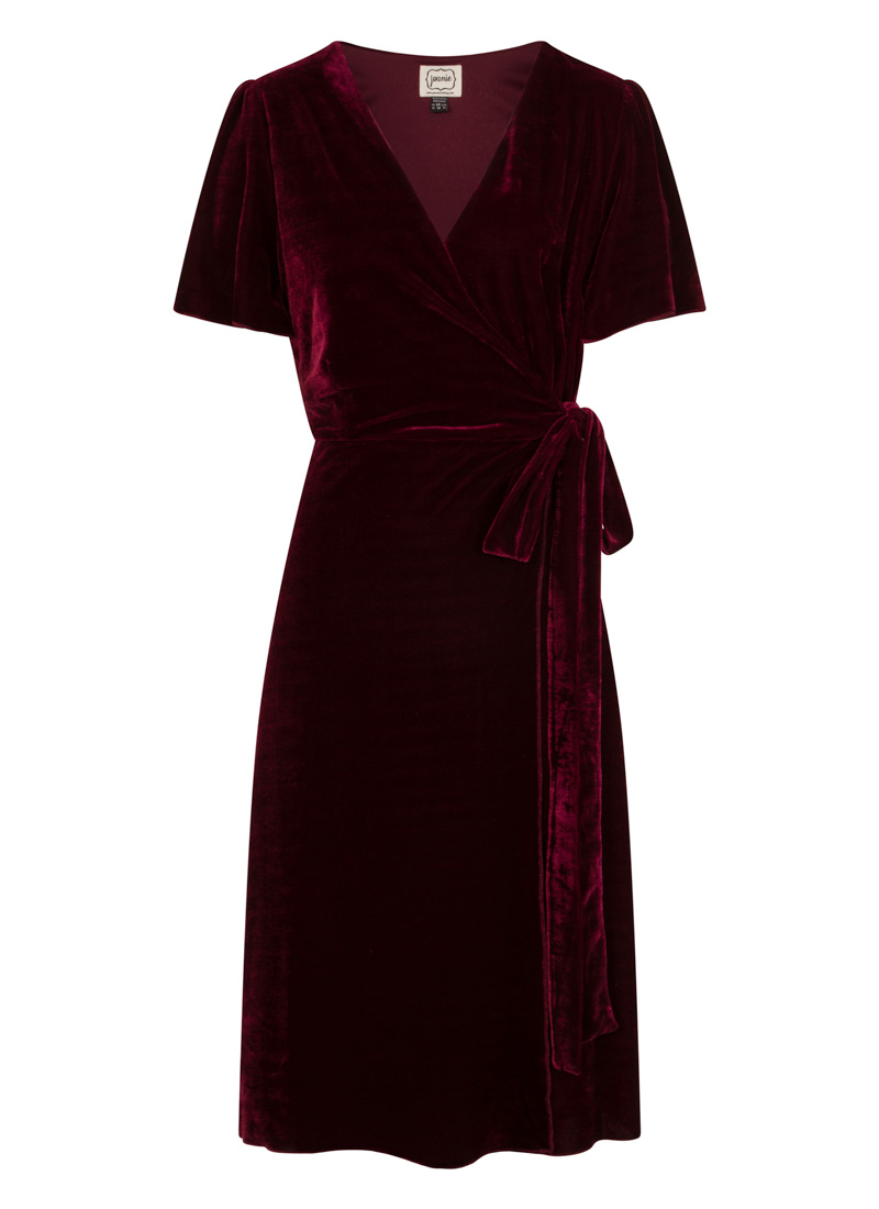 Harley Velvet Wrap Dress Cabernet Product Front