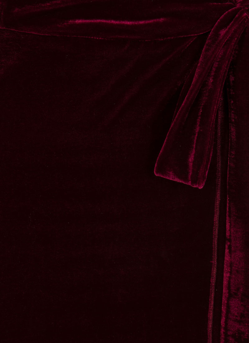 Harley Velvet Wrap Dress - Cabernet