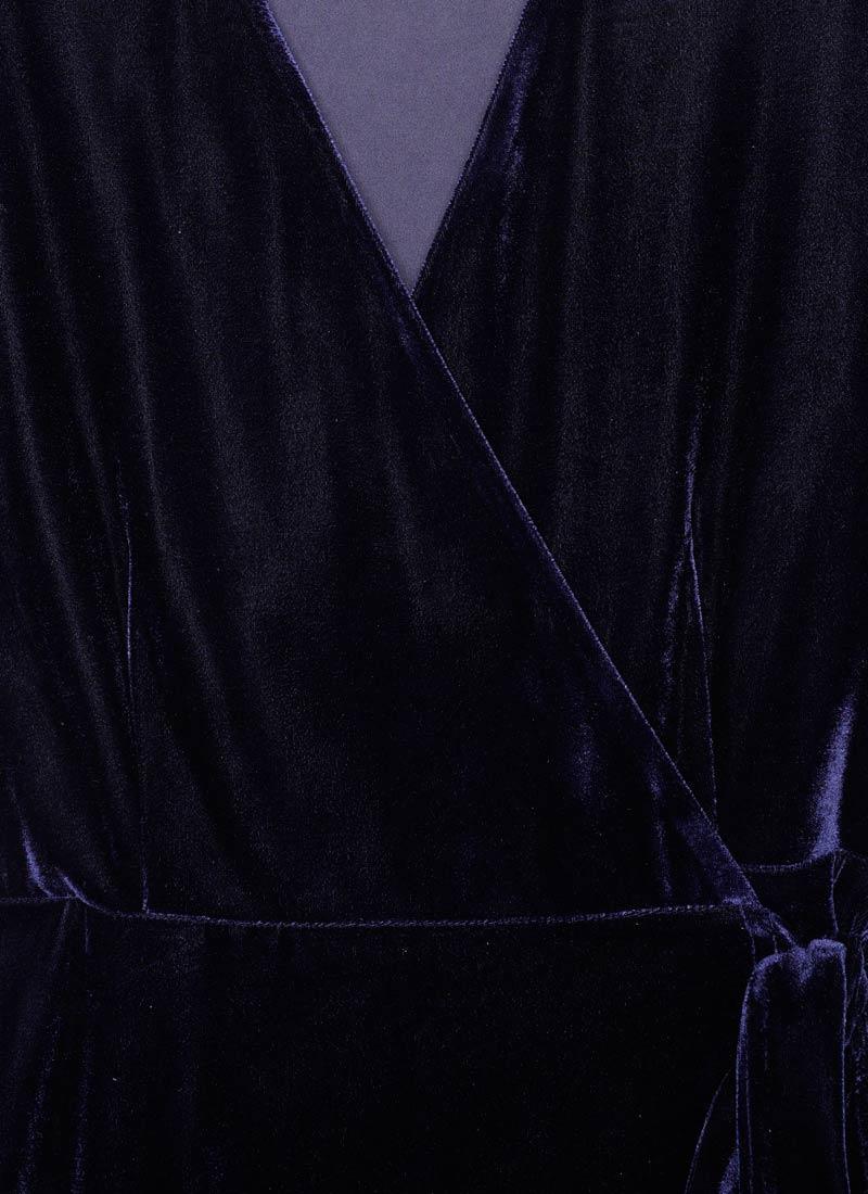 Harley Velvet Wrap Midi Dress - Blue