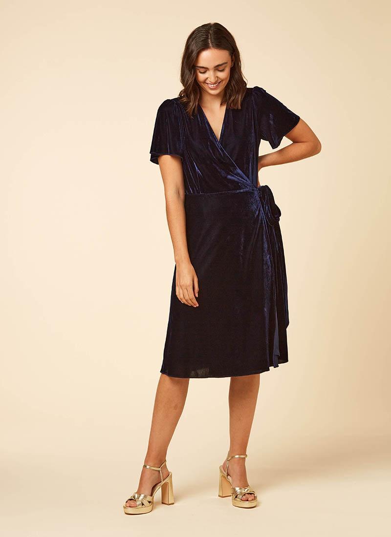 Harley Velvet Wrap Midi Dress Blue Model Front