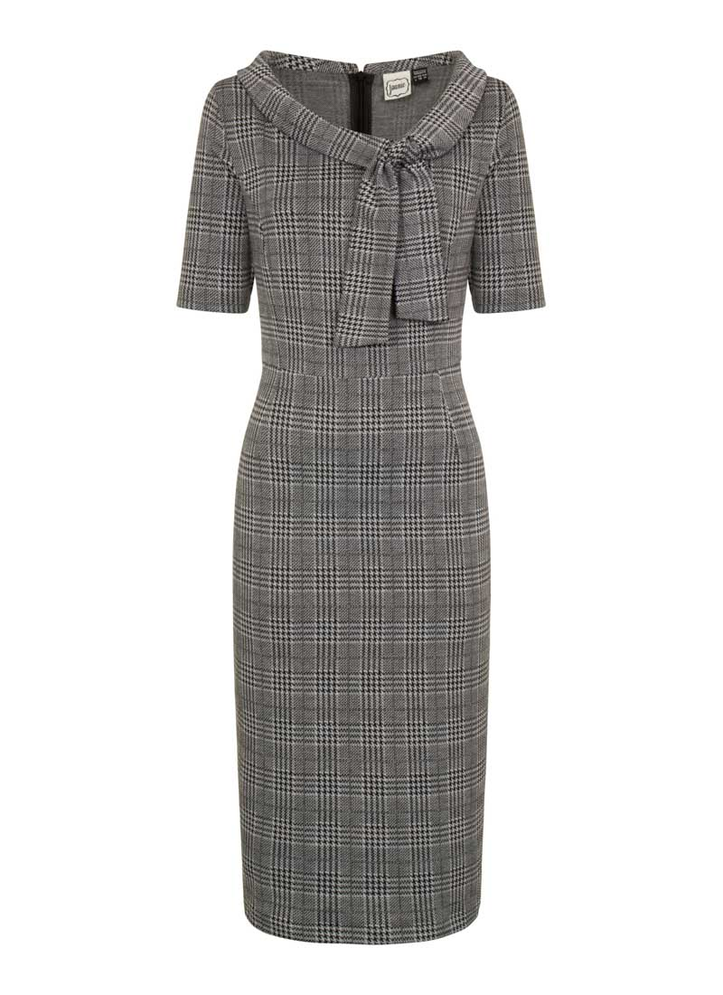 Hendricks Grey Check Stretch Pencil Dress Product Front
