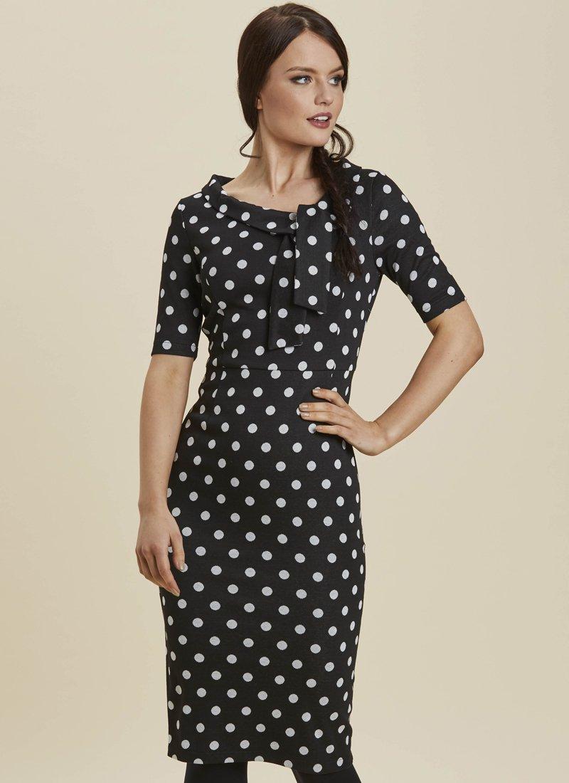 Hendricks Black Polka Dot Stretch Pencil Dress Model Close-Up