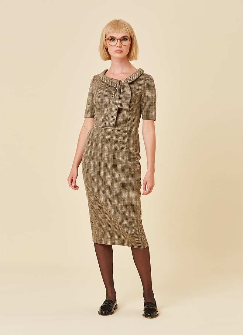 Hendricks Check Stretch Pencil Dress Brown Model Front
