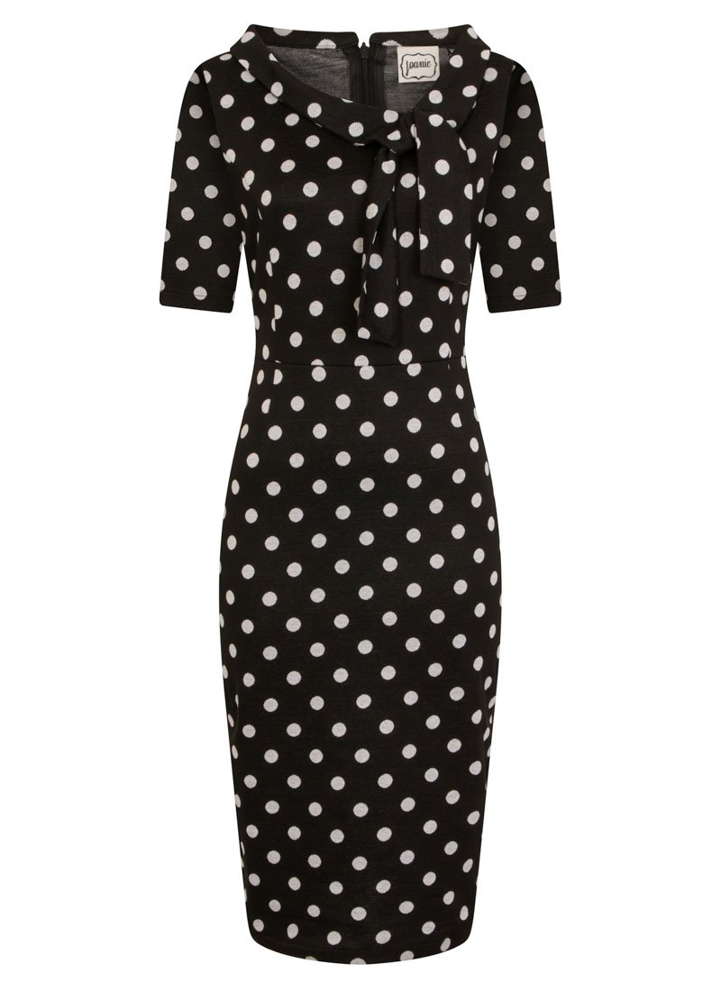 Hendricks Black Polka Dot Stretch Pencil Dress Product Front