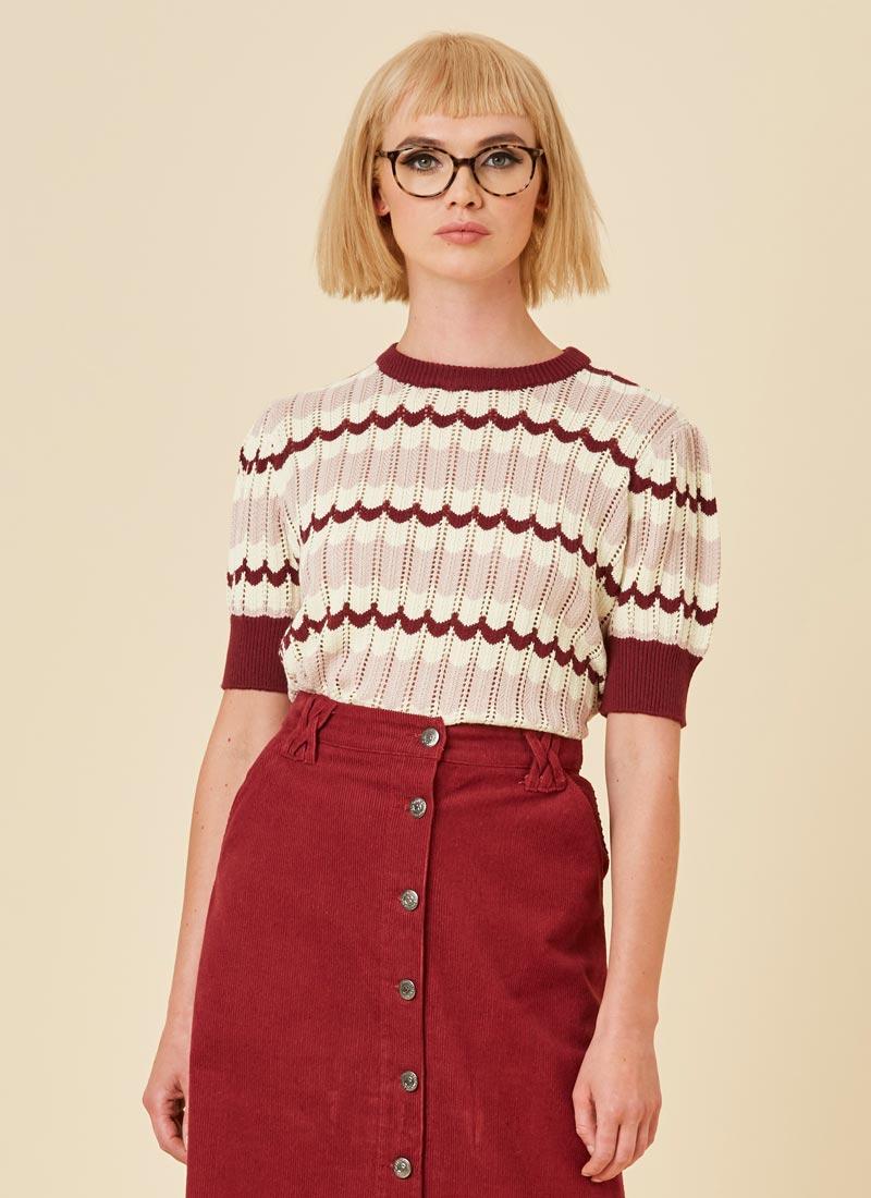 Hudson Scallop Stripe Knit Model Close-Up