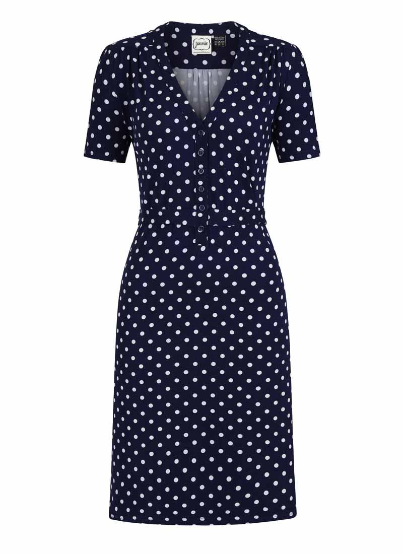 Jade Polka Dot Print Jersey Dress Product Front