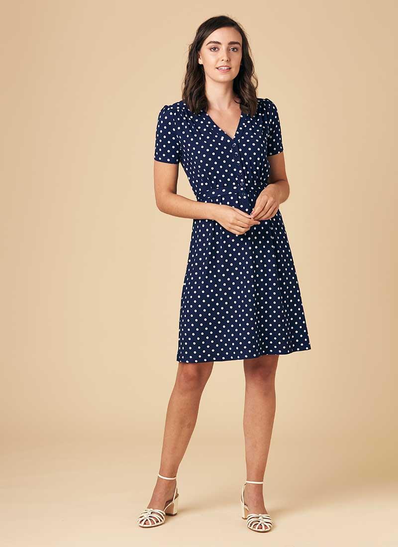 Jade Polka Dot Print Jersey Dress Model Front