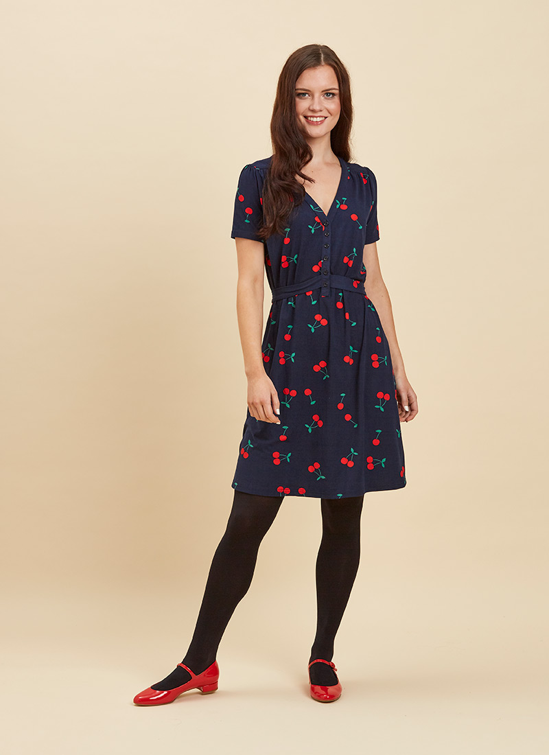 Jade Cherry Print Jersey Dress Full Front View