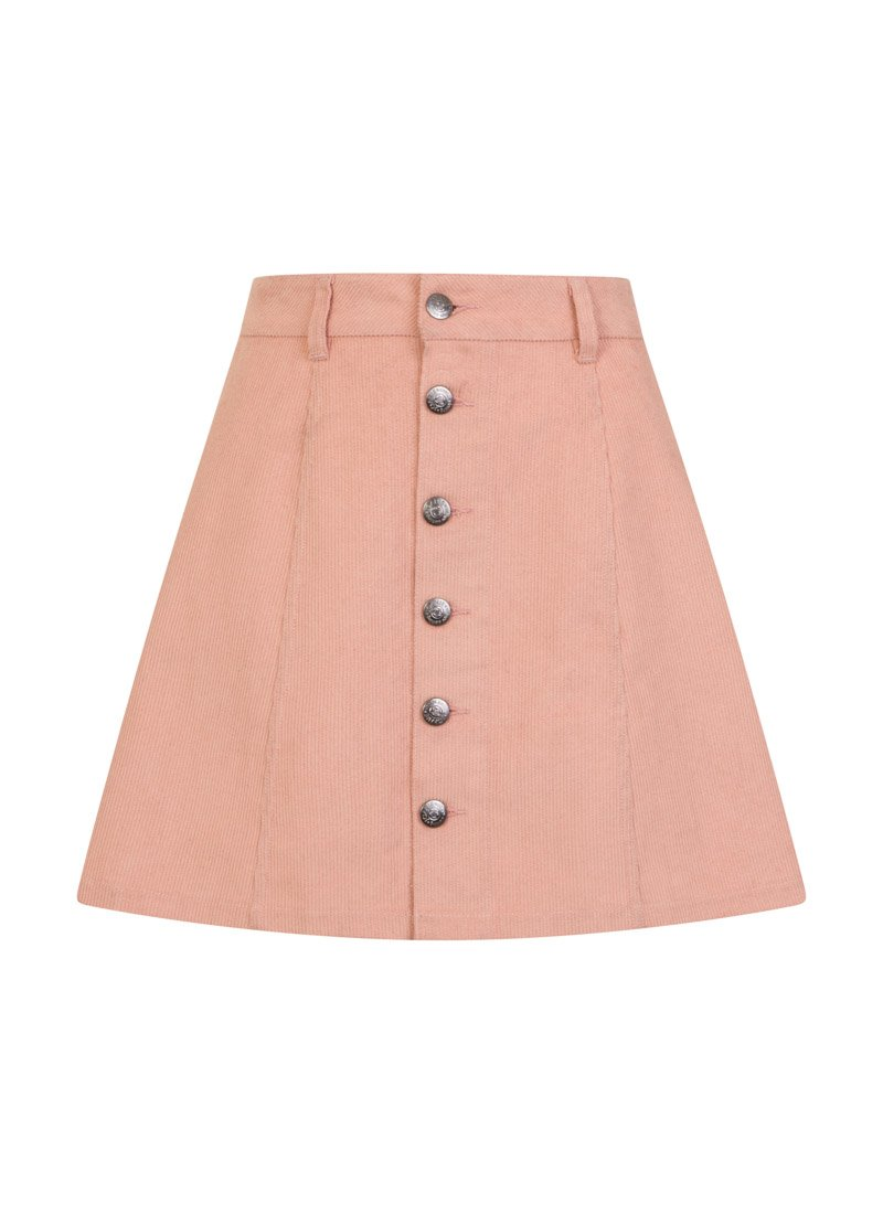Janet A-Line Button-Through Skirt Pink Cord Product Front