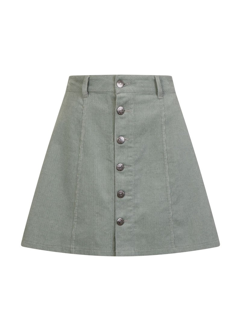 Janet A-Line Button-Through Cord Skirt Blue Product Front
