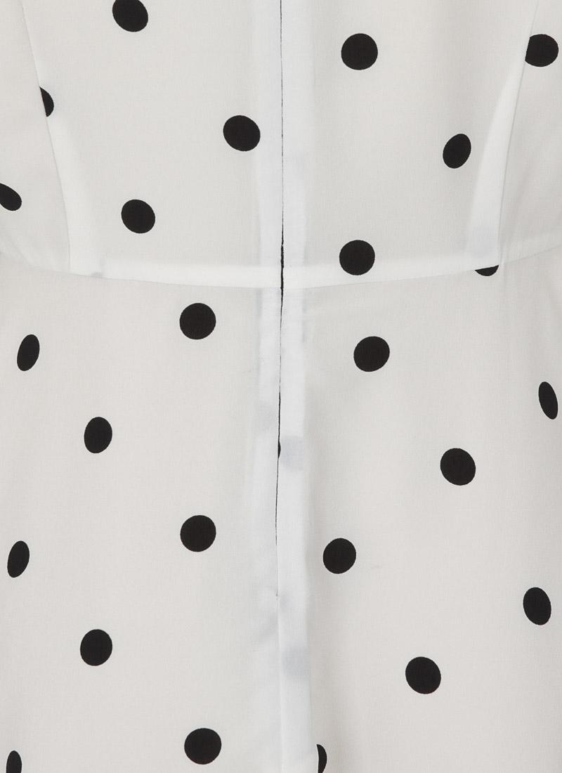 January Frill Neck Polka Dot Tea Dress - White