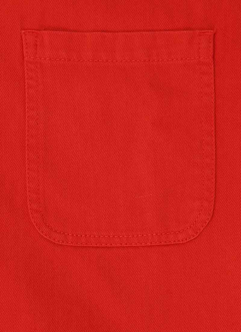Jennifer Scallop Edge Pinafore Dress - Red