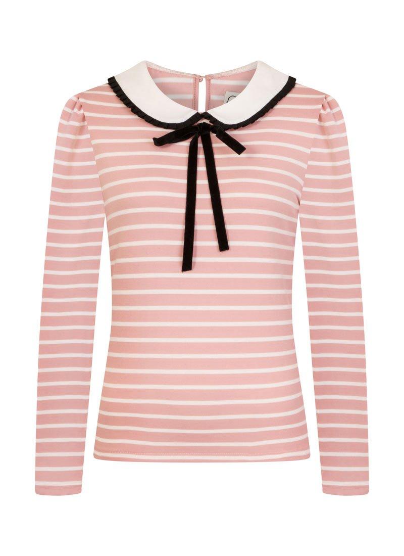 Sabrina Pink Peter Pan Contrast Collar Stripe Top Product Front