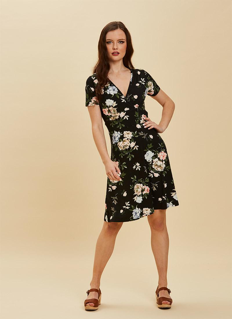 Julia Bold Floral Print Jersey Dress Model Front