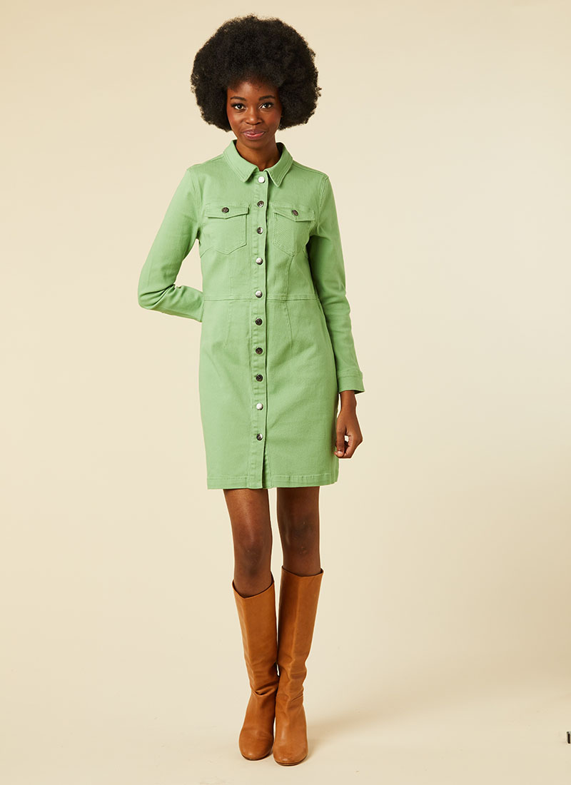Julie Green Denim Shirt Dress Model Front
