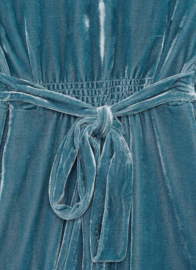 Jupiter Long Sleeve Velvet Mini Dress - Teal