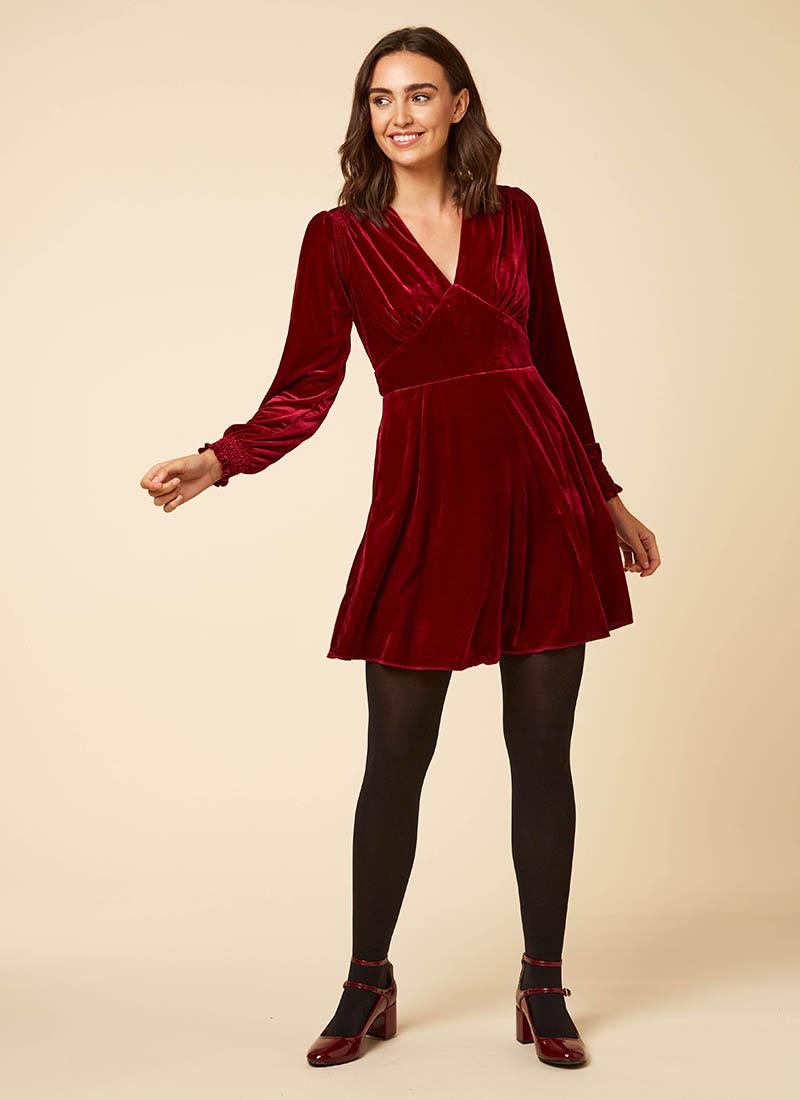 Jupiter Long Sleeve Velvet Mini Dress Burgundy Model Front