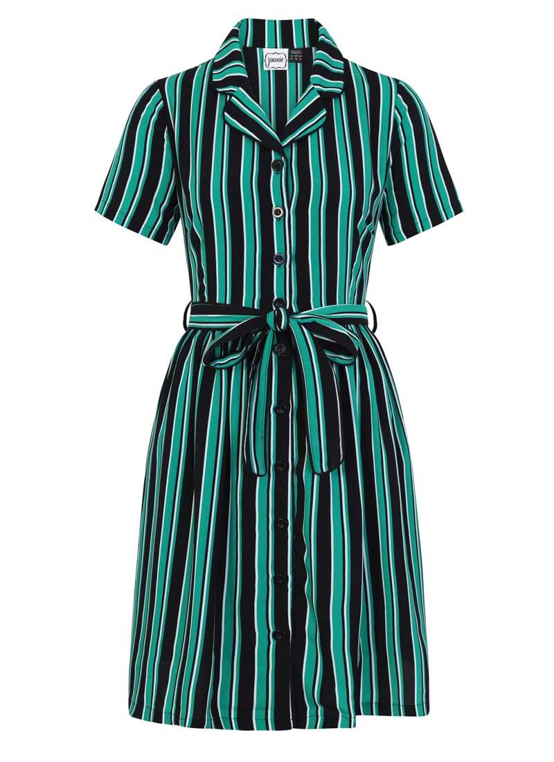 Karlie Stripe Shirt Dress Green Product Front