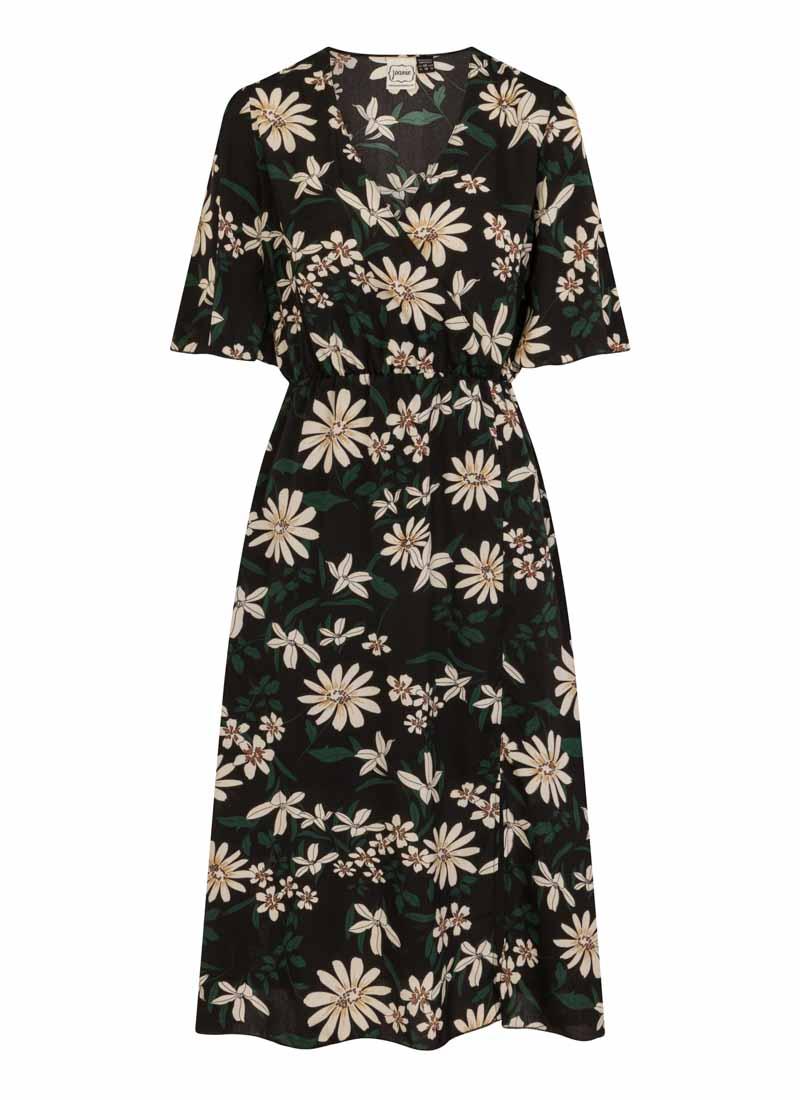 Katrine Black Floral Midi Wrap Dress Product Front