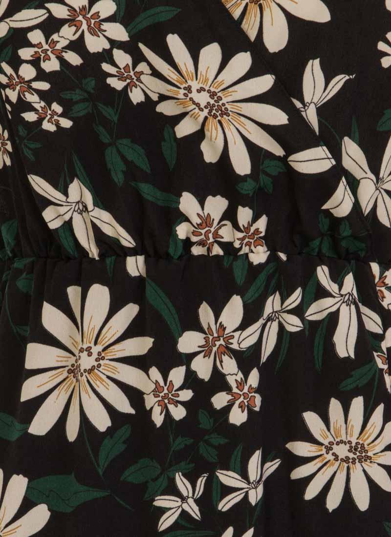 Katrine Floral Wrap Front Midi Dress - Black