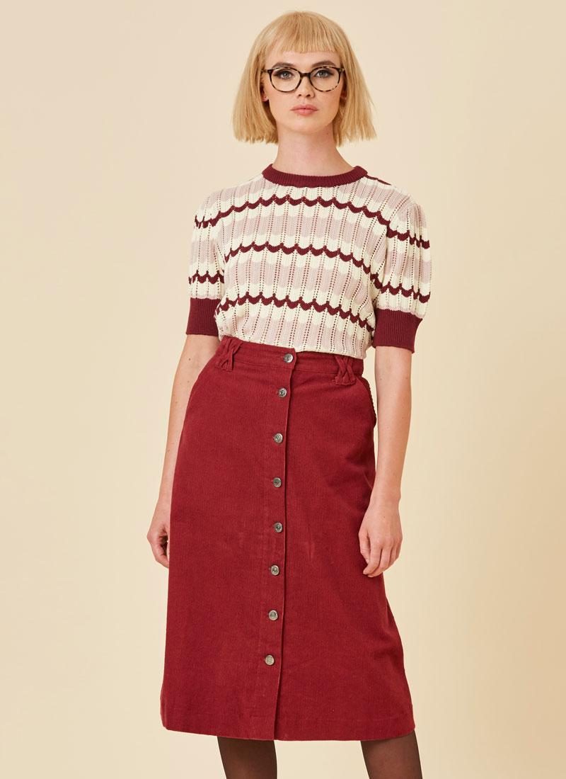 Keaton A-Line Cord Midi Skirt Cabernet Model Close-Up