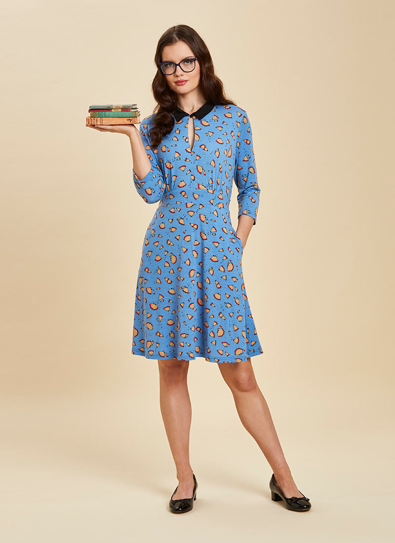 Kelly Pencil Print Jersey Dress Blue