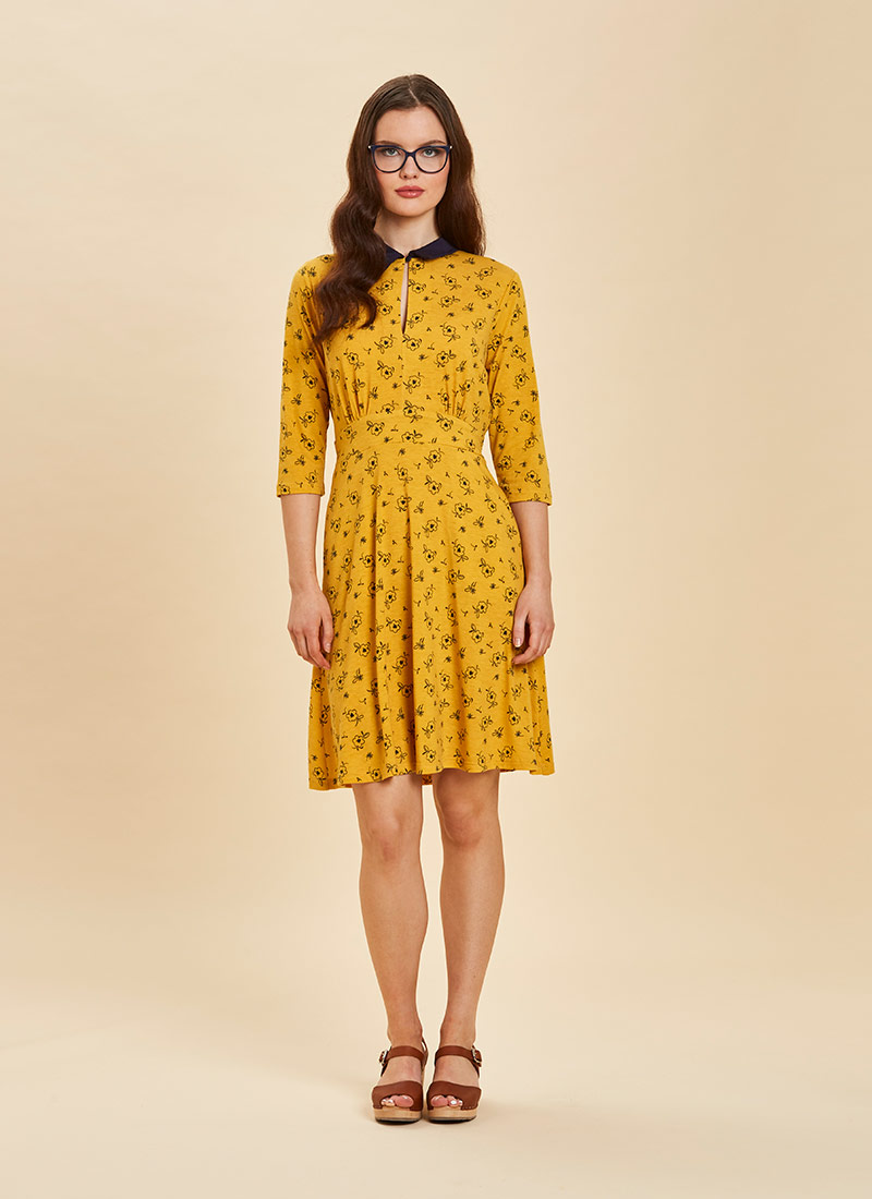 Kelly Floral Print Collar Dress Yellow Full Front view