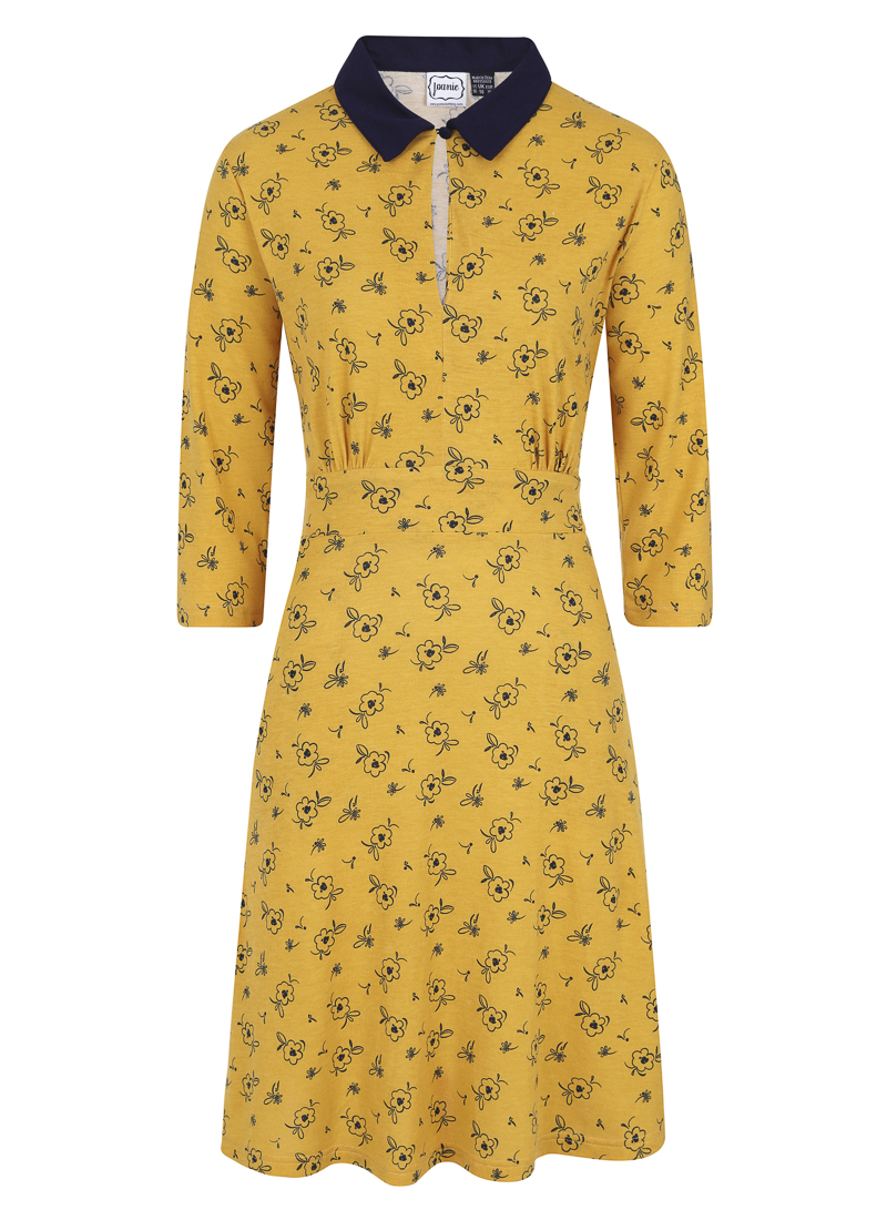 Kelly Floral Print Collar Dress Yellow product front