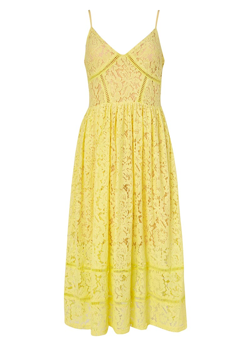 Kezzy Lace Strappy Sun Dress - Yellow