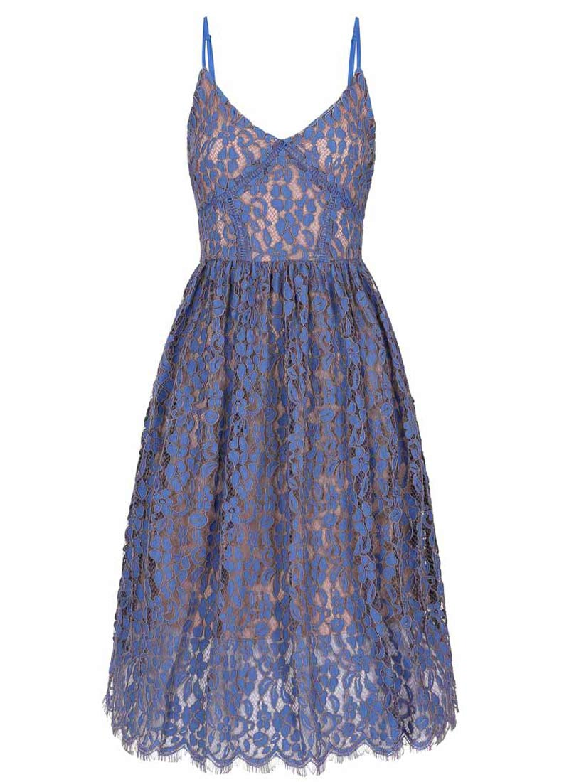 Kezzy Lace Strappy Dress Blue Product Front