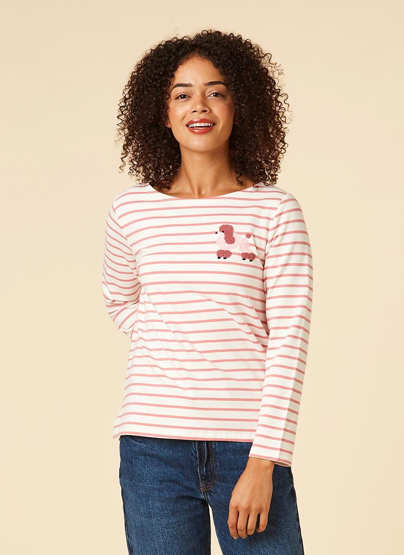 Kiki Pink Poodle Breton Stripe Top Model Front