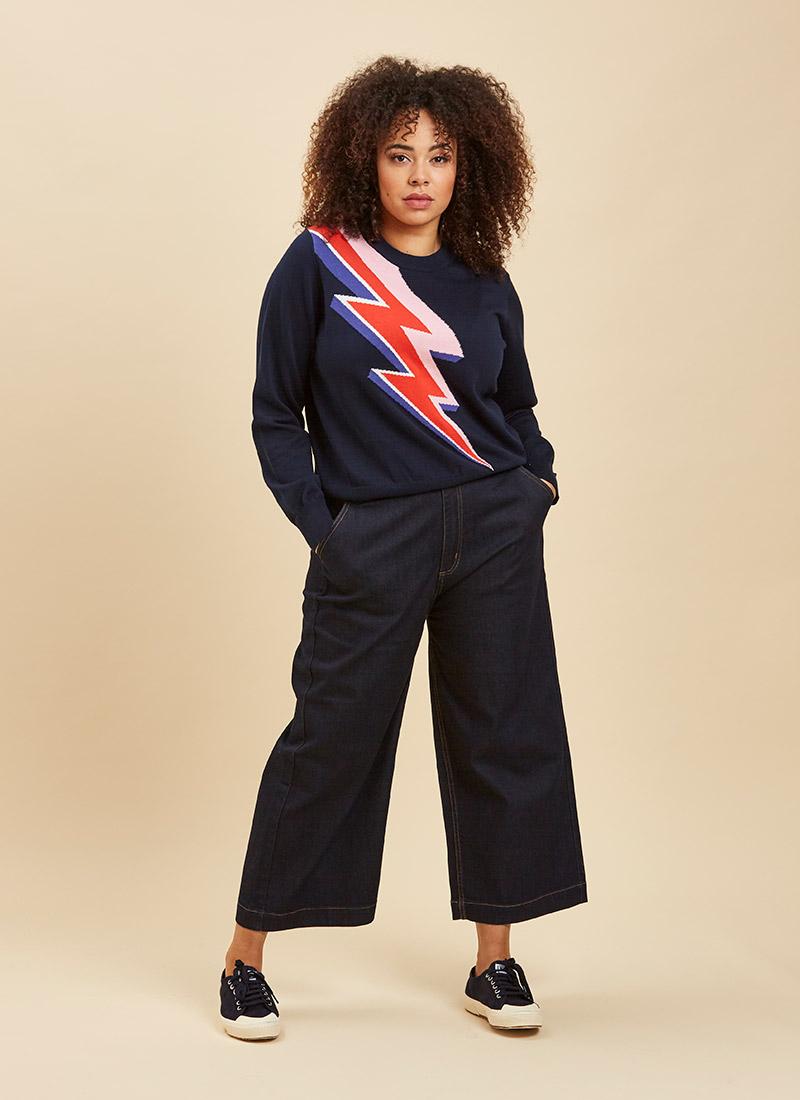 Fawcett Wide Leg Crop Jeans Model Front