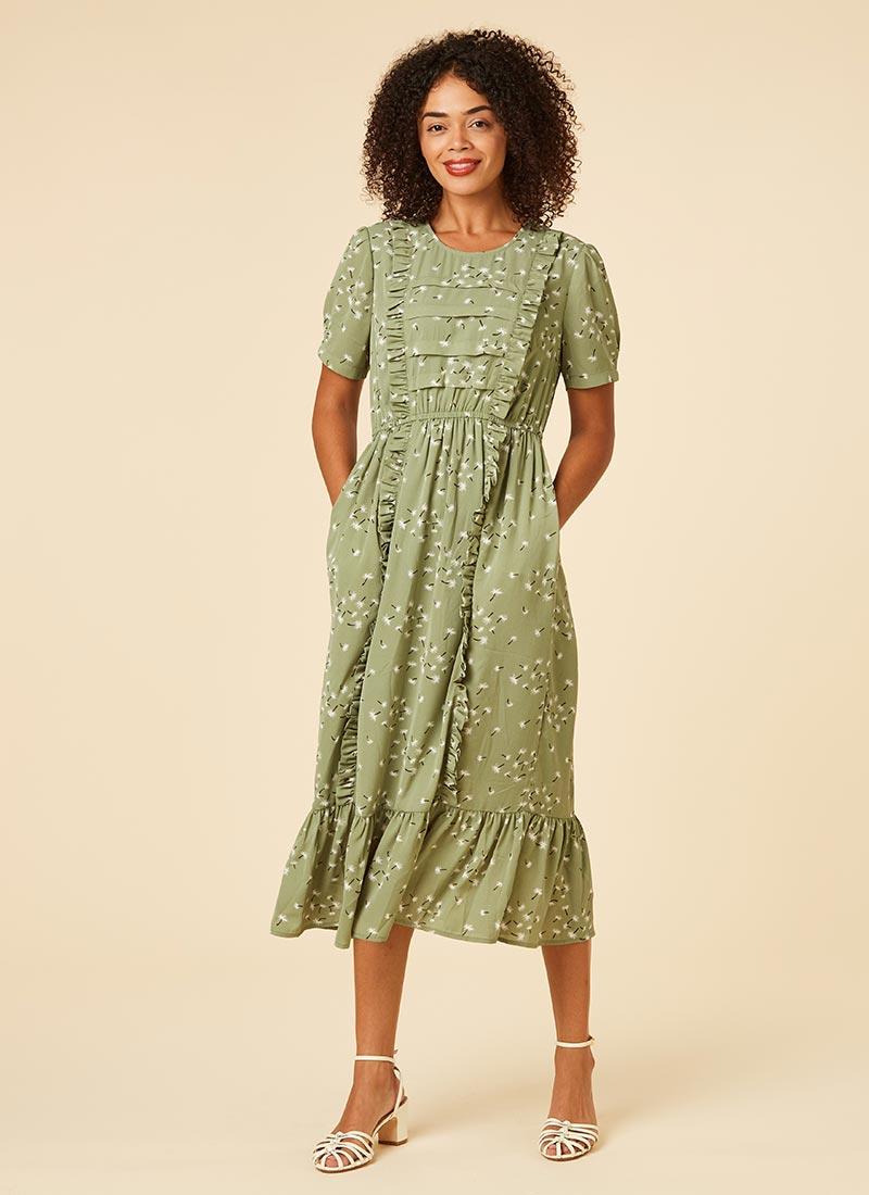 Kirsten Green Dandelion Print Prairie Midi Dress Model Front