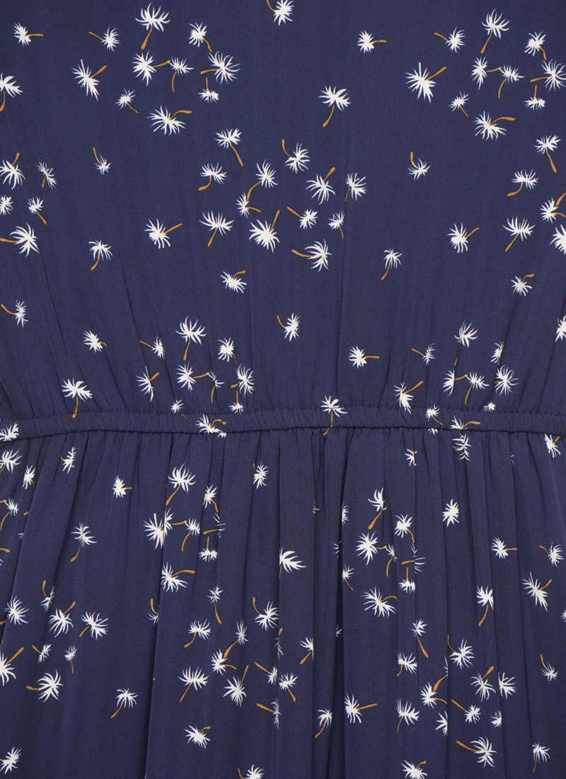 Kirsten Dandelion Print Prairie Midi Dress - Navy